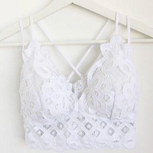 Other - White Crochet Scallop Lace Double Strap Bralette